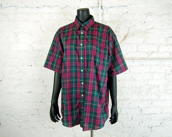 Vintage 1980s Members Only Club House Pink and Green Plaid Short Sleeve Shirt (Large 16-16 1/2)