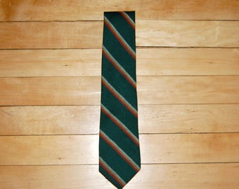 Vintage 1980s Rooster Wool Diagonal Striped Tie / Green / Orange / Gold / White