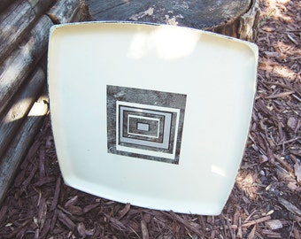 Vintage 1960s Black Gray Off-White Square Serving Tray / Geometric Pattern / Mod Abstract