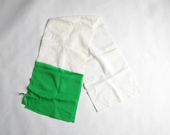 "Vintage 1970s Extra Long Green & White Colorblock Scarf (90"" x 10.25"")"