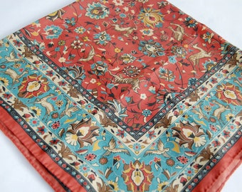 Vintage 1970s Floral and Forest Animal Print Polyester Square Scarf / Red, Blue, Brown / Symmetrical