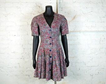 Vintage 1980s Baroque Print Button Front V-Neck Pleated Drop Waist Mini Dress