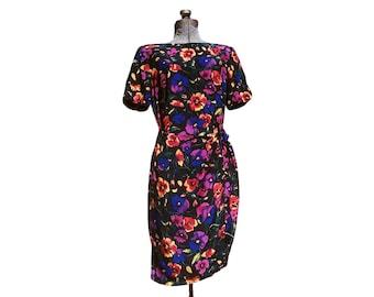 Vintage 1990s Liz Claiborne Silk Floral Wrap Knee Length Short Sleeve Dress (Size 10)