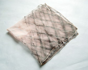 Vintage 1950s / 1960s Chiffon Pale Pink & Black Lattice Print Nylon/Rayon Sheer Square Scarf