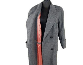 Vintage 1980s Alorna by Forstmann Gray Wool Blend Tweed Herringbone Coat / Large