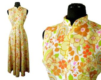 Vintage 1960s / 1970s 'It's Better' Flower Power Sleeveless Maxi Dress