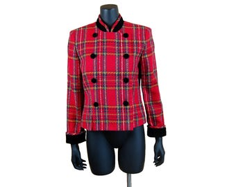 Vintage 1990s J.S.J. Petites Red Stewart Plaid and Black Velvet Trim Collarless Double Breasted Jacket (Size 8P)