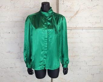 Vintage 1980s Caribou Emerald Green Faux Wood-Grain Secretary Blouse w/ Side Tie Collar