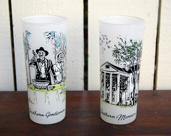 Vintage 1950s Libbey Frosted Southern Tumblers / Glasses / Mansion & Gentlemen / Set of 2