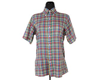 Vintage 1990s Arrow Sportswear Red, Green, Blue, Yellow, Black and White Check / Plaid Short Sleeve Button Down Shirt (Size Medium)