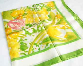 Vintage 1980s Spring Flowers Scarf / Green, Yellow, Pink, Orange / SW Kent Avon Tulips & Daffodils