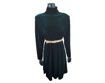Vintage 1980s K.C. Spencer NY Green Velvet Turtleneck A-Line Dress (14)