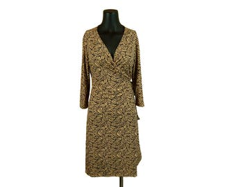 Vintage 1990s Black and Tan Abstract Print Wrap Dress / Ronni Nicole / Size 10P