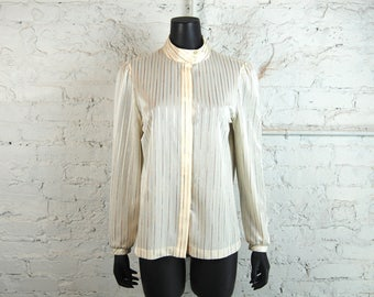 Vintage 1970s Devon Beige and Shiny Pastel Striped Banded Collar Blouse w/ Hidden Button Front