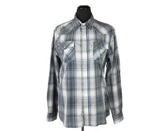 Vintage 1990s Levi's Gray & Blue Plaid Long Sleeve Western Snap Shirt (M)