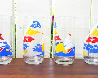 Vintage 1980s Sailboat / Nautical Flag Tumblers / Glasses (Set of 4) / Red, Yellow, Blue