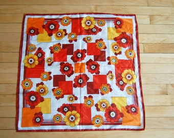 Vintage 1970s Funky Floral and Square Print Polyester Scarf / Brown, Orange, White, Red and Yellow