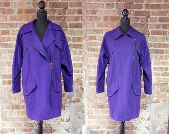 Vintage 1980s Purple Wool Coat w/ Black Piping / Saxton Hall Size Medium / Oversized / Side Zipper Jacket