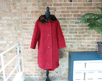 Vintage 1960s Macauley Sears Wine Red Textured Wool Coat with Brown Fur Collar / Red Lining