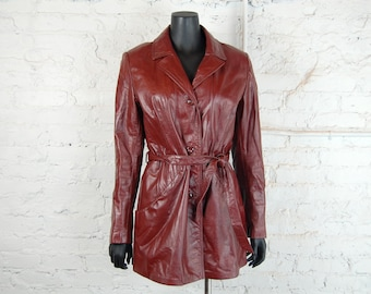 Vintage 1970s Oxblood / Mahogany Brown / Burgundy Leather Jacket w/ Tie Belt and Zippered Winter Liner