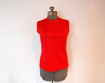 Vintage 1960s Red Sleeveless Back Zipper Crew Neck Top (Size XS)