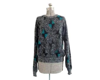 Vintage 1980s Eclat Geometric Design Acrylic Crew Neck Pullover Slouchy Sweater