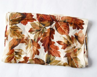 Vintage 1990s Autumn Leaves Echo Scarf / Fall Leaf Print Long Silk Scarf / Burgundy, Green and White