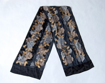 Vintage Neutral Flower Print Long Silk Scarf / Brown, Gray/Blue, Black Rose Floral Pattern Scarf