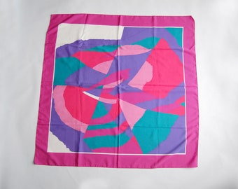 Vintage 1980s Polyester Neon Pink, Purple, Turquoise Abstract Retro Print Square Scarf
