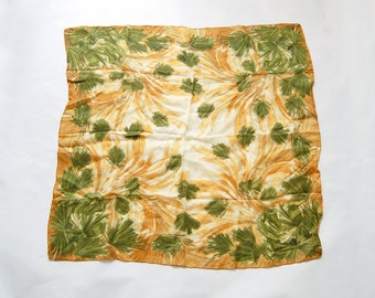Vintage Painterly Abstract Scarf / Green, Gold, White Square Polyester Scarf
