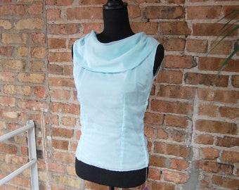 Vintage 1960s Encore Fashions Baby Blue Nylon Sleeveless Cowl Neck Blouse (Size 32)
