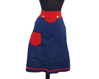 Vintage Red, White & Blue Handmade Apron w/ One Pocket, Rick Rack and Buttons