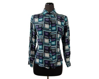 Vintage 1980s Georgetown Collection Geometric Print Silk Shirt (Size Medium) / Teal, Purple, Black, Gray