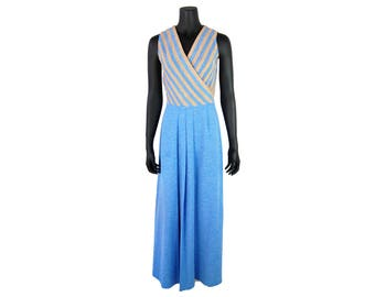 Vintage 1970s Blue and Tan Sleeveless Maxi Dress w/ Attached Tie Waist