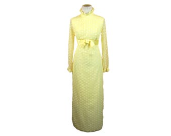 Vintage 1970s Yellow and White Flocked High Ruffle Neck / Collar Sheer Sleeved Maxi Dress w/ Satin Bow // Granny Dress
