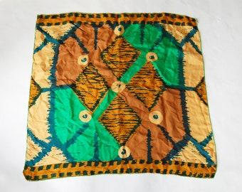Vintage Vera Neumann Abstract Silk Scarf / Brown, Blue, Gold, Green