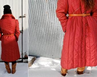Vintage 1970s Floor Length Red Puffy Winter Coat