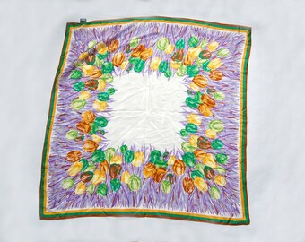Vintage 1980s Honey Silk Purple, Green, Yellow, White, Brown Tulip / Floral Print Scarf