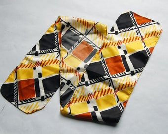 Vintage 1960s / 1970s Yellow, Black, Brown, White Abstract Print Long Rectangular Scarf