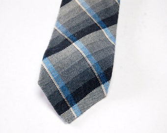 Vintage 1960s Blue & Gray Plaid Wool Flannel Tie / Lilly Daché Skinny Retro Necktie