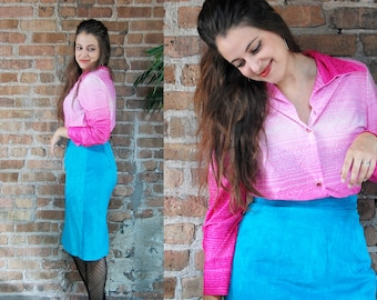 Vintage 1970s Hot Pink Ombre Gradient Button Down Top / Polyester Retro Blouse / Semi Sheer Shirt