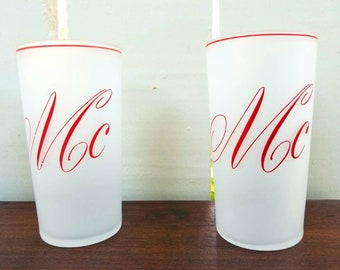 "Vintage 1950s Federal ""Mc"" Monogrammed Frosted Cocktail Glasses (Set of 4)"