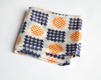 Vintage 1960s Orange Plaid Circles and Blue Houndstooth Squares Pattern Scarf / Head Scarf