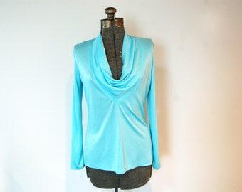 Vintage 1960s Shimmery Aqua Blue Cowl V-Neck Long Sleeve Top w/ Back Zipper (Vintage Size 12)