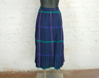 Vintage 1980s Brooks Brothers Plaid Pleated Maxi Skirt / Navy, Purple, Green, Magenta, Teal / Size 12