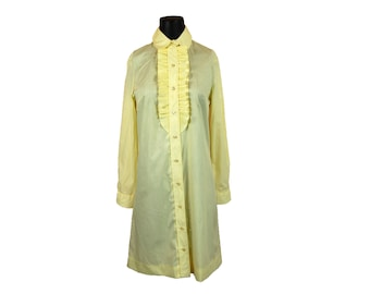 Vintage 1960s Cos Cob Yellow Button Up Shirt Mini Dress with Front Ruffle Trim (9/10)