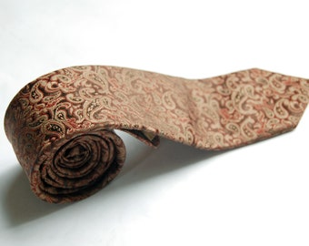 Vintage 1980s Paco Rabanne Brown, Rust, Taupe Jacquard Paisley Skinny Necktie
