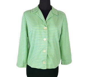 Vintage 1960s James Kenrob 'Career Jacket' / Stripes / Green, Blue, White / Size Large