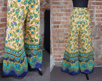 Vintage 1970s Unique Quilted Floral and Paisley Hi-Waist Bell-Bottom Pants