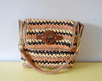 Vintage 1970s Gaymode Woven Straw Purse / Coral, Black, Cream, Brown with Wood and Chain Accents